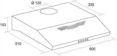 Вытяжка плоская Pyramida GH 20-60 Slim (нержавеющая сталь) - схема