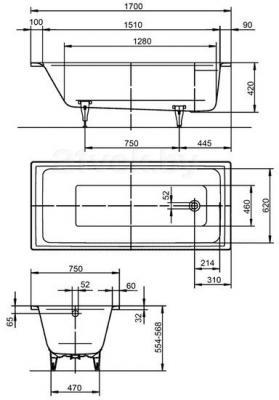 Ванна стальная Kaldewei Puro 652 (170x75) - габаритные размеры