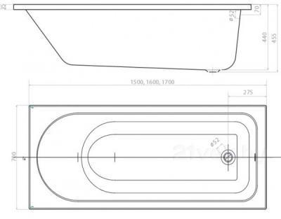 Ванна акриловая Colombo Акцент SWP1250000 (150x70) - габаритные размеры