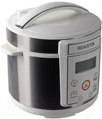 Мультиварка-скороварка Marta MT-1968 (белый/сталь) - вид сбоку