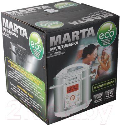 Мультиварка-скороварка Marta MT-1968 (белый/сталь) - коробка