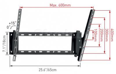 Кронштейн для телевизора Barkan E410.B - габаритные размеры