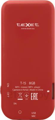 MP3-плеер TeXet T-15 (8GB, красный) - вид сзади
