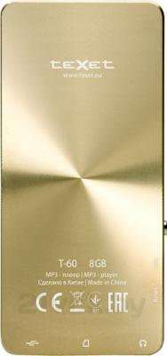MP3-плеер TeXet T-60 (8GB, золотой) - вид сзади