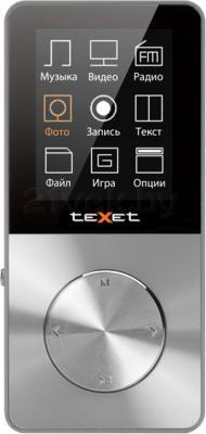 MP3-плеер TeXet T-60 (8GB, серебристый) - вид спереди
