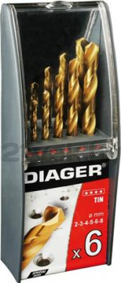 Набор сверл Diager HSSTiN 707C (6 предметов) - общий вид