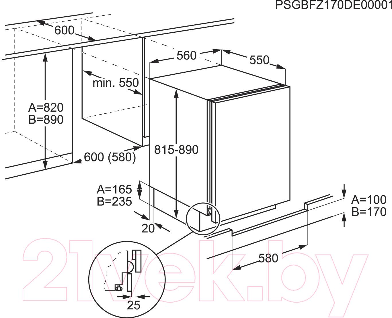 Схема шкафа встроенного холодильника