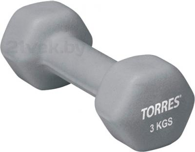 Гантель Torres PL50013 (серый) - общий вид