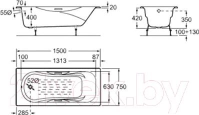 Ванна чугунная Goldman ZYA-36 Loft