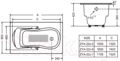 Ванна чугунная Goldman ZYA-22С-7 Nova (170x80)
