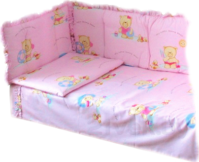 Комплект в кроватку Ночка Мишутка 6 (розовый) - общий вид