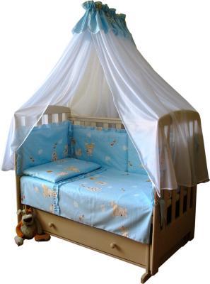 Комплект в кроватку Ночка Мишки с пчелами 6 (голубой) - общий вид