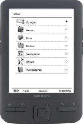 Электронная книга TeXet TB-446SE (Gray) - фронтальный вид