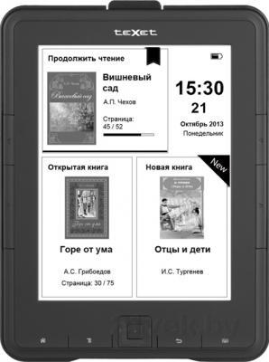Электронная книга TeXet TB-136SE (Black) - фронтальный вид