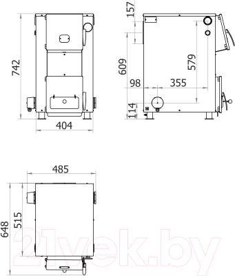 Твердотопливный котел Теплодар Куппер ОК20 - монтажные размеры