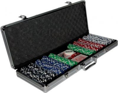 Набор для покера NoBrand B-500 (в чемодане, 500 фишек) - общий вид