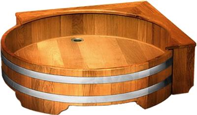 Душевой поддон деревянный Мануфактура Шингарёв и Ко d1 (Лиственница, круглый) - реальный цвет модели может отличаться от цвета, представленного на фото