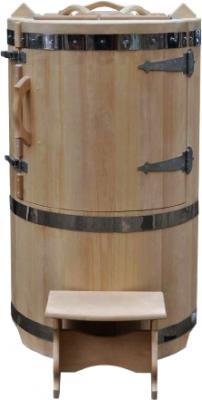 Кедровая бочка Мануфактура Шингарёв и Ко p880 (с прямой крышей, круглая) - общий вид