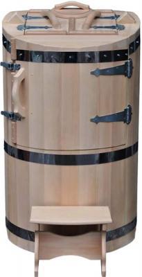 Кедровая бочка Мануфактура Шингарёв и Ко p780 (со скошеной крышей, круглая) - общий вид