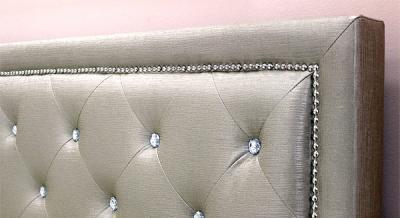 Двуспальная кровать Королевство сна MOREE 160x200 (античный золотой с кристаллами) - спинка из экокожи