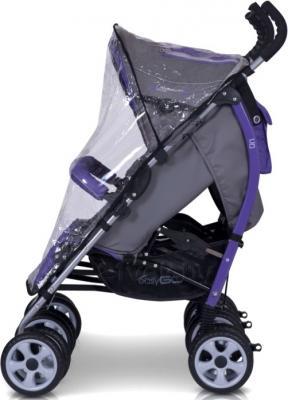 Детская прогулочная коляска EasyGo Duo Comfort (Carbon) - дождевик (цвет ultra violet)