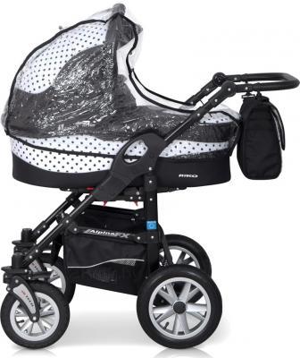 Детская универсальная коляска Riko Alpina FX 2 в 1 (Ocean Blue) - дождевик (цвет 09 Black & White)
