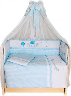 Комплект в кроватку Bombus Веселая семейка 7 (голубой) - общий вид