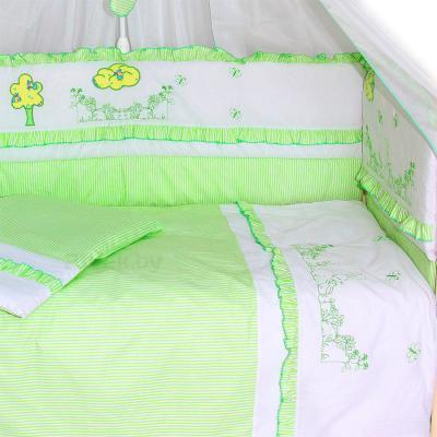 Комплект в кроватку Bombus Веселая семейка 7 (салатовый) - общий вид