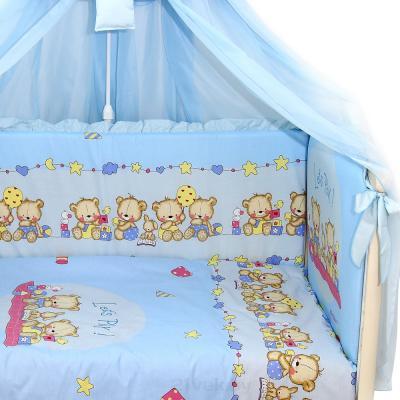 Комплект в кроватку Bombus Давай поиграем 8 (голубой) - общий вид