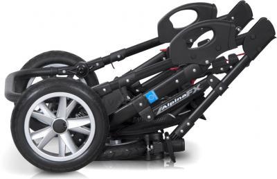 Детская универсальная коляска Riko Alpina FX 2 в 1 (Lila) - в сложенном виде (цвет 09 Black & White)