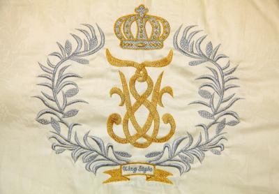 Комплект в кроватку Bombus Королевский 8 (бежевый) - вышивка