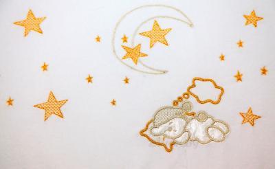 Комплект в кроватку Bombus Малышок 7 (белый) - вышивка