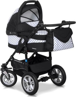 Детская универсальная коляска Riko Alpina FX 2 в 1 (Black-White) - вид спереди