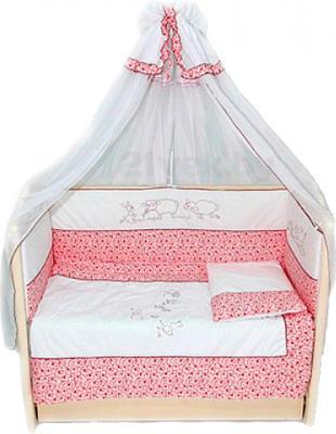 Комплект в кроватку Bombus Птичий дворик 7 (розовый) - общий вид