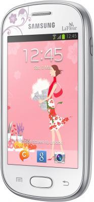 Смартфон Samsung S6790 Galaxy Fame Lite La Fleur (белый) - вид полубоком