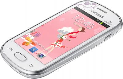 Смартфон Samsung S6790 Galaxy Fame Lite La Fleur (белый) - вид лежа