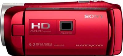 Видеокамера Sony HDR-PJ240E (красный) - вид сбоку