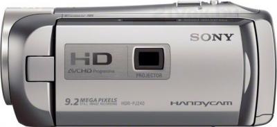 Видеокамера Sony HDR-PJ240E (серебристый) - вид сбоку
