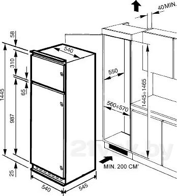 Холодильник с морозильником Smeg FR2322P - схема