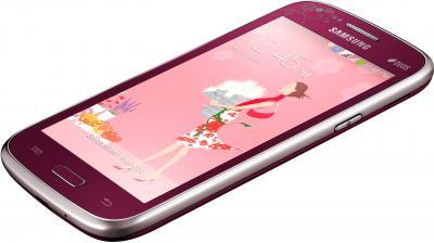 Смартфон Samsung I8262 Galaxy Core La Fleur (Red) - вид лежа