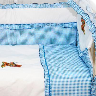 Комплект в кроватку Bombus Юленька 3 (голубой) - общий вид