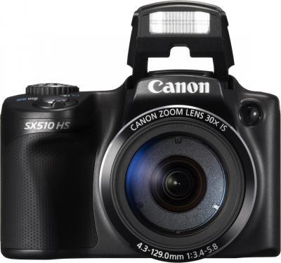 Компактный фотоаппарат Canon PowerShot SX510 HS (черный) - вид спереди
