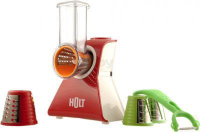 Овощерезка электрическая Holt HT-SM (+ овощечистка SC01) - общий вид: комбайн, насадки, овощечистка