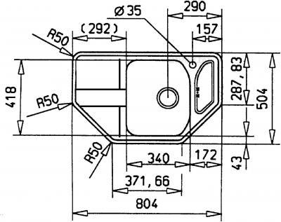 Мойка кухонная Teka Stena 45 E-MTX / 12131021 - схема монтажа