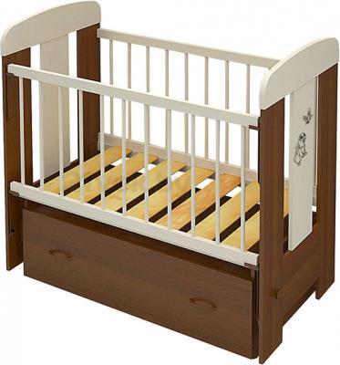 Детская кроватка Алмаз-Мебель Зайка-2 маятник (Орех) - общий вид