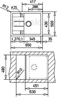 Мойка кухонная Teka Astral 45 B-TG (топаз) - схема встраивания