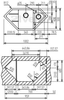 Мойка кухонная Teka Astral 70 E-TG (антрацит) - схема встраивания
