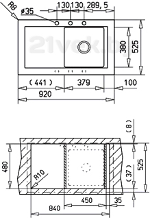 Мойка кухонная Teka Aura 45 B-TG (топаз) - схема встраивания