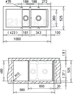 Мойка кухонная Teka Aura 60 B-TG (песочный) - схема встраивания