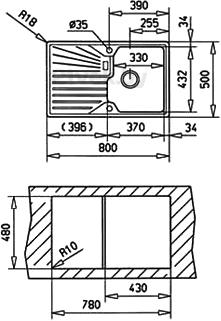 Мойка кухонная Teka Cascad 45 B-TG (топаз) - схема встраивания